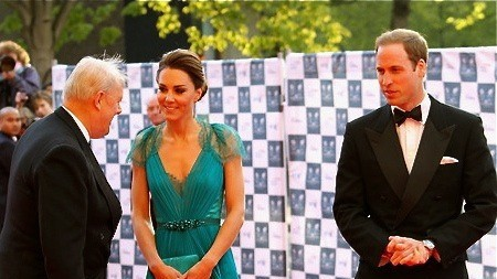 The Duchess of Cambridge, Kate Middleton (center) with the Duke of Cambridge, Prince William (right) who are due to visit Sabah, Malaysia in September
