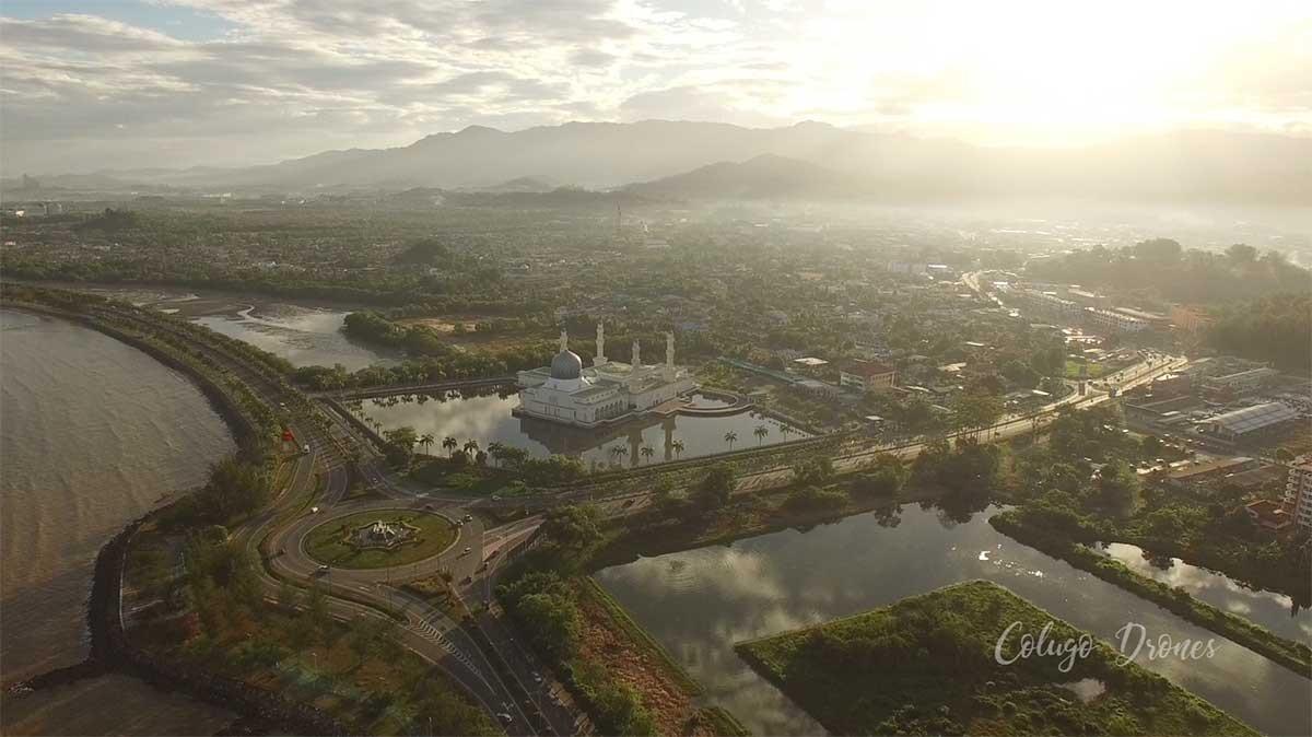 Drone photo taken in Tanjung Lipat of the Floating Mosque, Kota Kinabalu, Sabah, Borneo